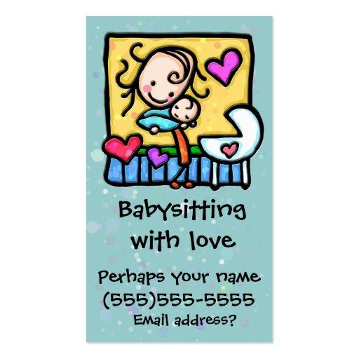 Tarjeta de encargo del cuidado de niños de la tarjetas de visita