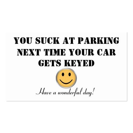 Tarjeta de encargo del estacionamiento tarjeta de visita