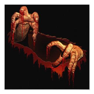 """Tarjeta de encargo del zombi de Halloween de la Invitación 5.25"""" X 5.25"""""""