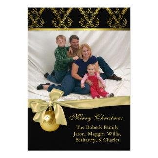 Tarjeta de encargo elegante de la foto del navidad anuncio personalizado