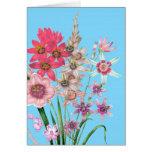 Tarjeta de encargo impresa colorida botánica flora
