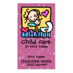 Tarjeta de encargo PNK del cuidado de niños de la  Tarjeta De Visita