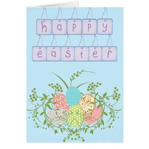 Tarjeta de etiqueta azul del huevo de Pascua