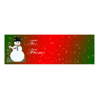 Tarjeta de etiqueta del navidad del muñeco de niev tarjetas de visita