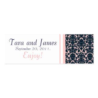 Tarjeta de etiqueta rosada del favor del boda del  plantilla de tarjeta de negocio