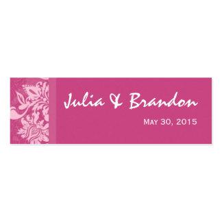 Tarjeta de etiqueta rosada del favor del boda del  tarjetas de visita mini