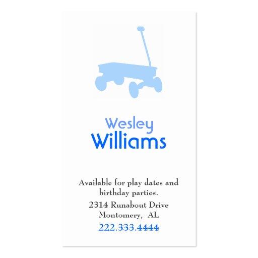 Tarjeta de fecha azul del juego de niños del carro tarjetas personales