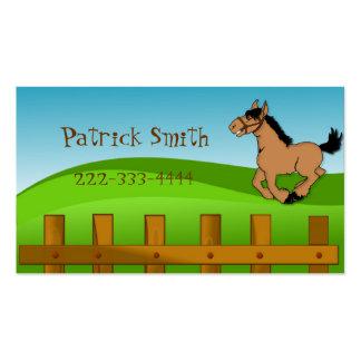 Tarjeta de fecha del juego del caballo del dibujo tarjetas de visita