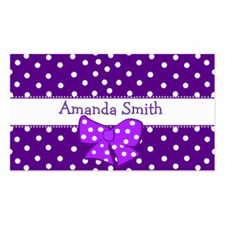 Tarjeta de fecha del juego del chica púrpura y tarjetas de visita