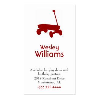 Tarjeta de fecha roja del juego de niños del carro tarjetas de visita
