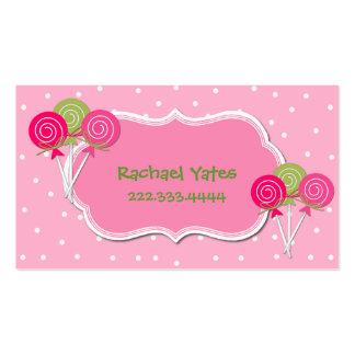 Tarjeta de fecha rosada y verde del juego de tarjetas de visita