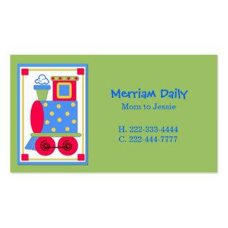 Tarjeta de fecha verde del juego de la mamá del mo tarjetas de visita