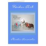Tarjeta de felicitación adaptable animal del Haiku