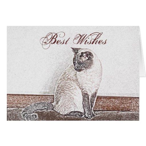 Tarjeta de felicitación adaptable del gato siamés