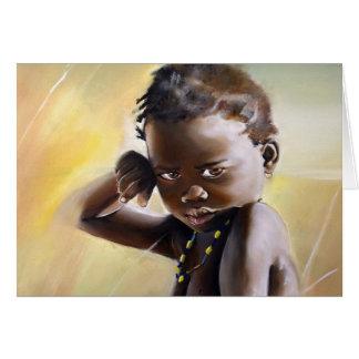 Tarjeta de felicitación africana del niño