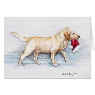 Tarjeta de felicitación amarilla del arte del perr