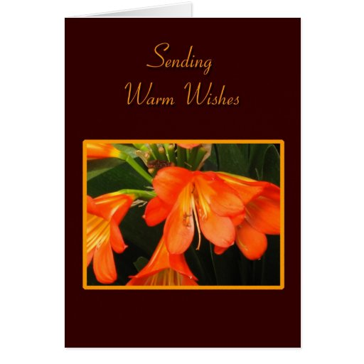 Tarjeta de felicitación anaranjada de la flor de l