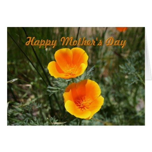 Tarjeta de felicitación anaranjada de las amapolas