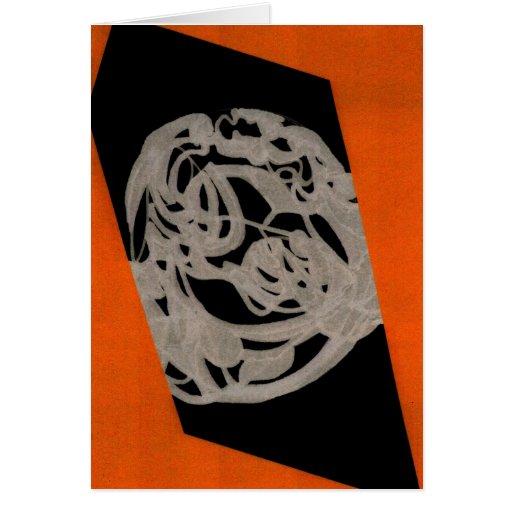 Tarjeta de felicitación anaranjada del origen