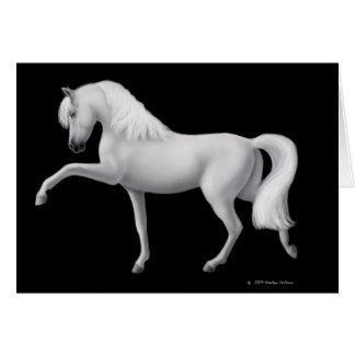 Tarjeta de felicitación andaluz blanca del caballo