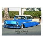Tarjeta de felicitación azul clásica del coche del