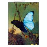 Tarjeta de felicitación azul de la mariposa de Mor