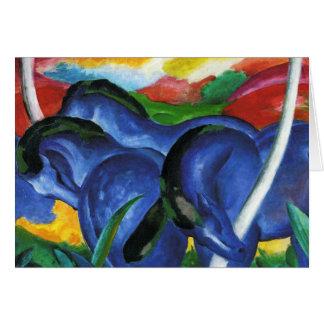 Tarjeta de felicitación azul de los caballos de Fr