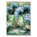 Tarjeta de felicitación azul de los Hydrangeas