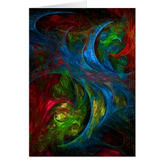 Tarjeta de felicitación azul del arte abstracto de