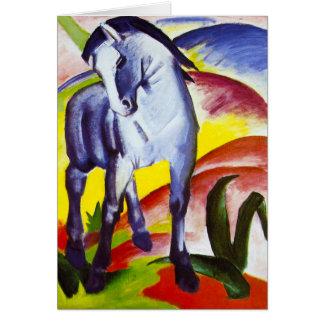 Tarjeta de felicitación azul del caballo de Franz