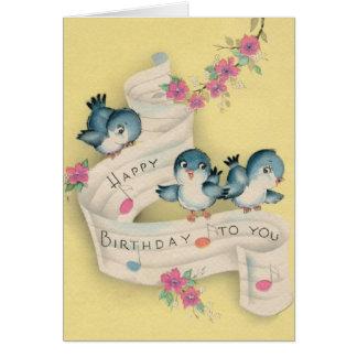 Tarjeta de felicitación azul del cumpleaños de la