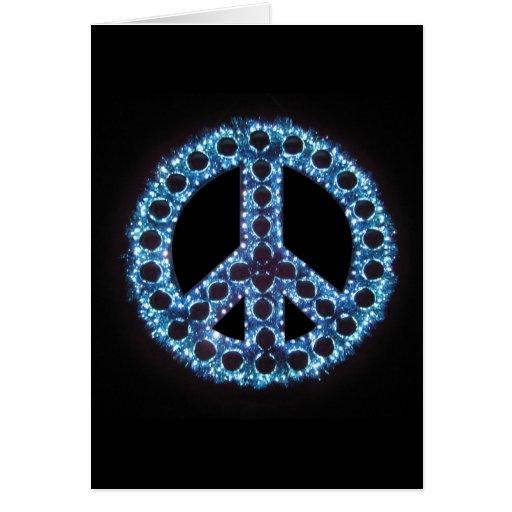 tarjeta de felicitación azul del signo de la paz