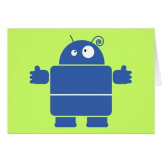 Tarjeta de felicitación azul linda del robot