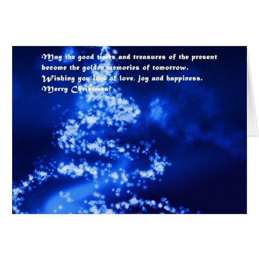 Tarjeta de felicitación azul profunda del árbol