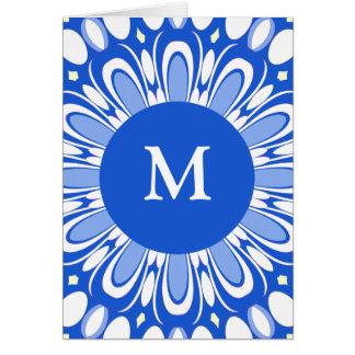 Tarjeta de felicitación azul y blanca retra bonita