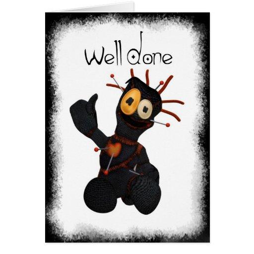Tarjeta de felicitación bien hecha negra de la muñ