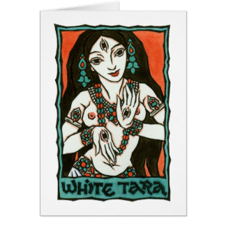 Tarjeta de felicitación blanca de Tara