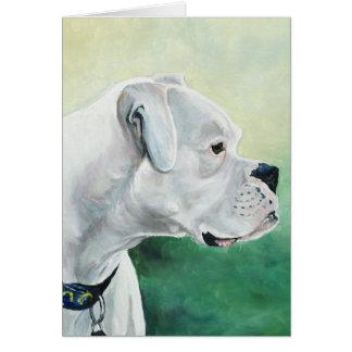 Tarjeta de felicitación blanca del arte del perro