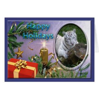 Tarjeta de felicitación blanca del navidad del tig