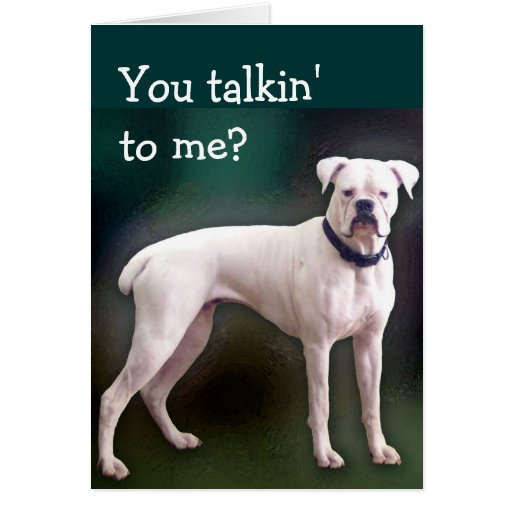 Tarjeta de felicitación blanca del perro del boxea