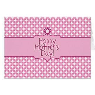 Tarjeta de felicitación blanca rosada del día de