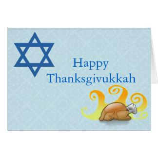 Tarjeta de felicitación bonita de Thanksgivukkah