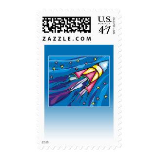 Tarjeta de felicitación brillantemente coloreada timbre postal