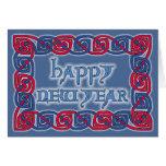 Tarjeta de felicitación céltica de la Feliz Año Nu