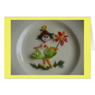 Tarjeta de felicitación - chica con la flor