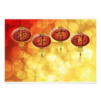 Tarjeta de felicitación china feliz de las lintern invitacion personalizada