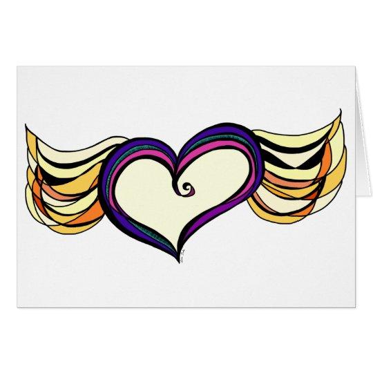 Tarjeta de felicitación coa alas del corazón