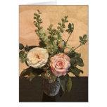Tarjeta de felicitación color de rosa de la pintur