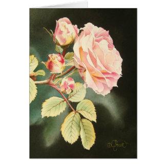 Tarjeta de felicitación color de rosa rosada suave