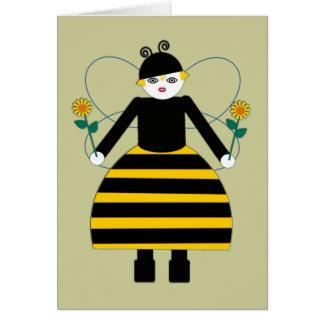 Tarjeta de felicitación con errores de la abeja de